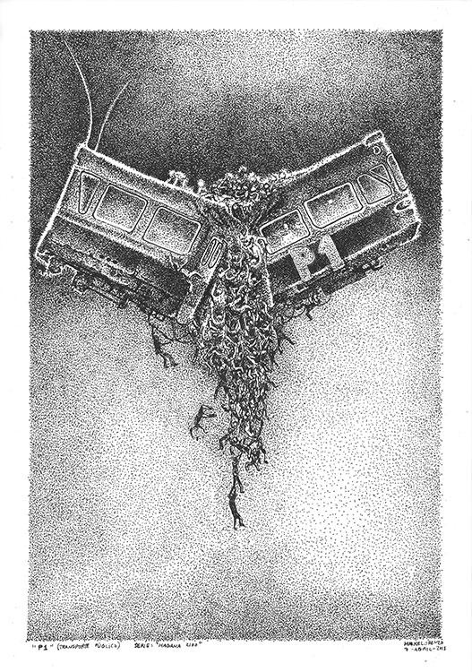 Bus P1 Habana2100 dibujo original Mike Lorenzo