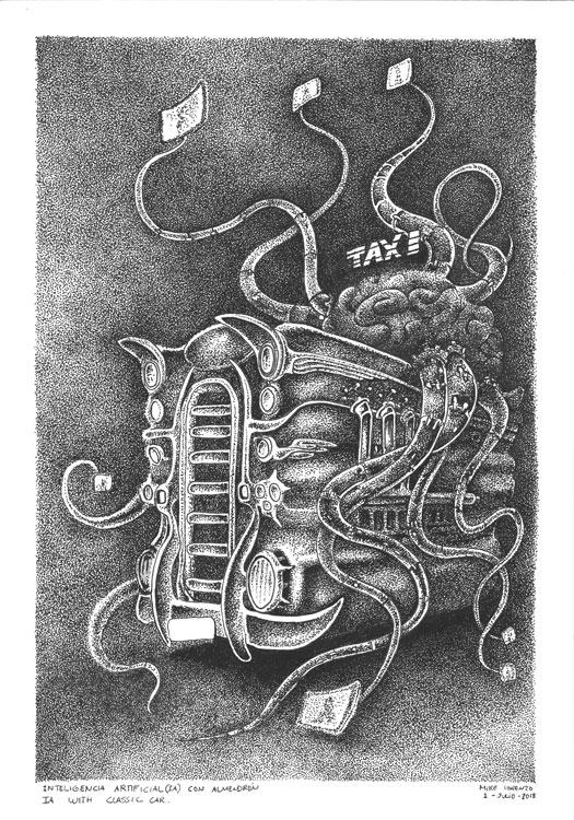 Taxi con AI Habana2100 dibujo original Mike Lorenzo