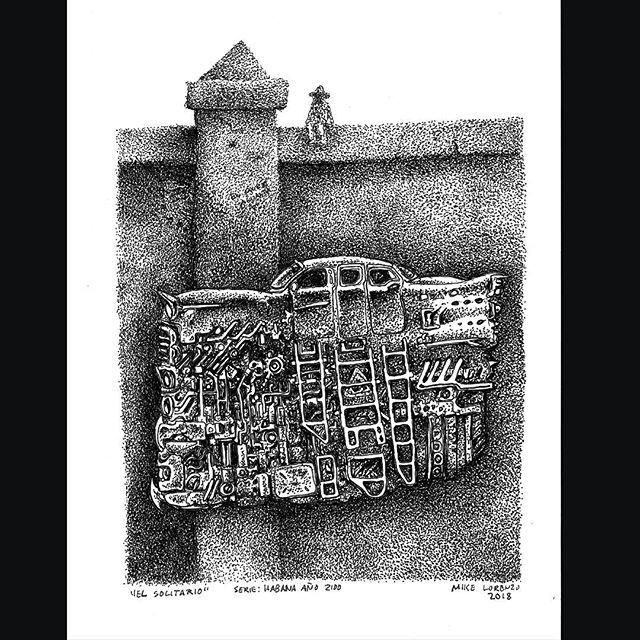 Dibujo El Solitario, serie Habana Año 2100 Maikel Lorenzo