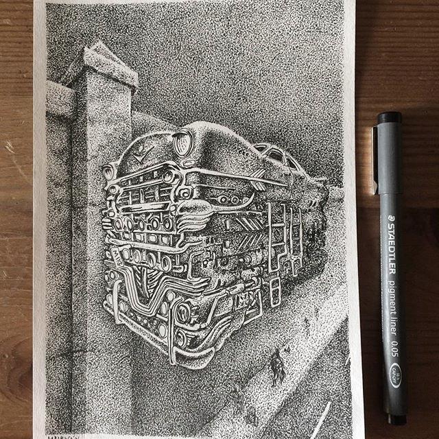 Dibujo Huracán, serie Habana Año 2100 Maikel Lorenzo